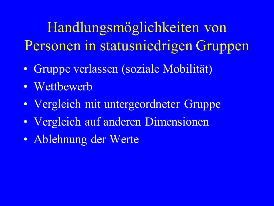 Handlungsmöglichkeiten von Personen in statusniedrigen Gruppen Gruppe verlassen (soziale Mobilität) Wettbewerb Vergleich mit untergeordneter Gruppe Ve