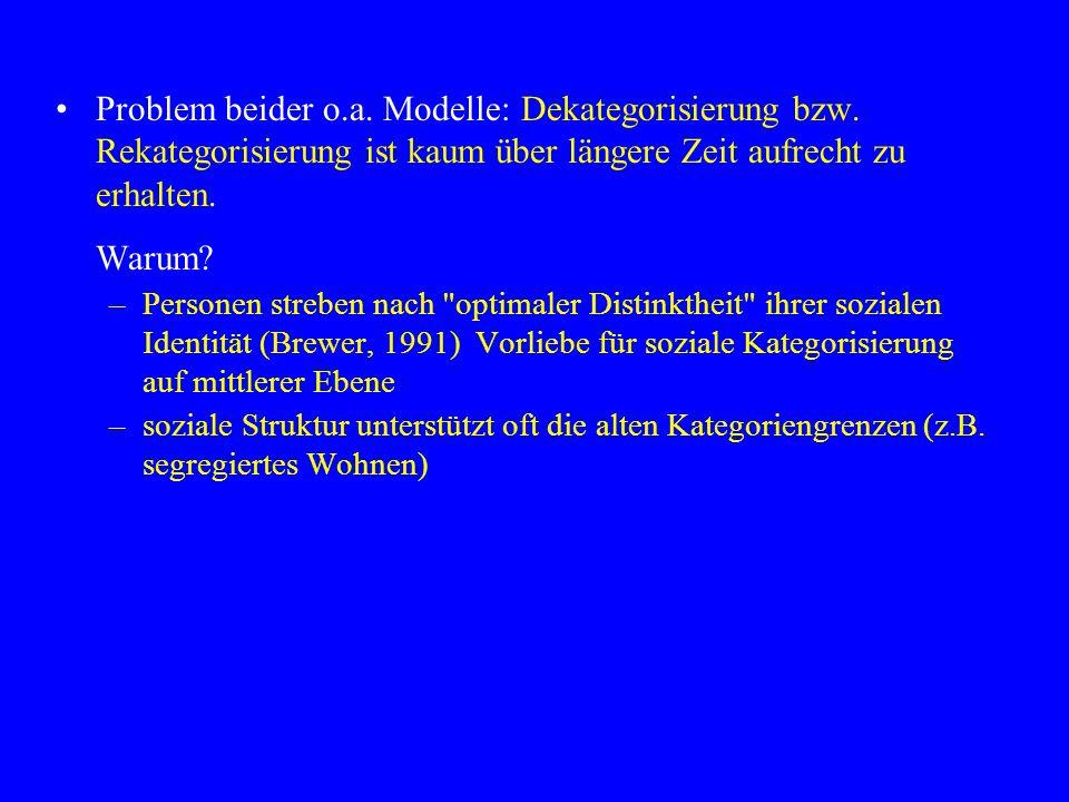 Problem beider o.a.Modelle: Dekategorisierung bzw.
