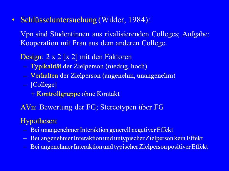 Schlüsseluntersuchung (Wilder, 1984): Vpn sind Studentinnen aus rivalisierenden Colleges; Aufgabe: Kooperation mit Frau aus dem anderen College.