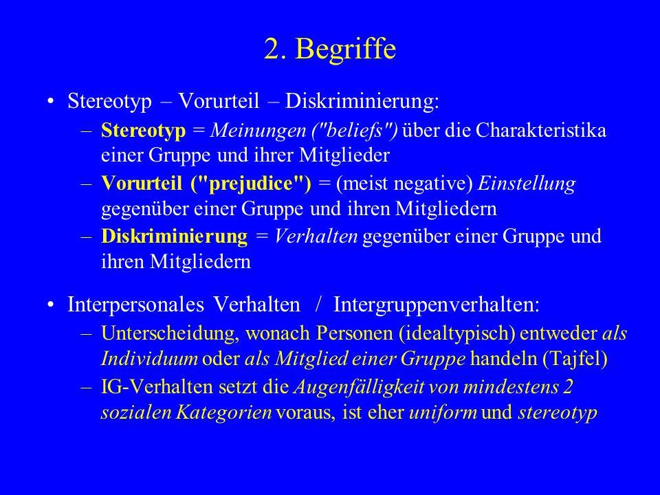 2. Begriffe Stereotyp – Vorurteil – Diskriminierung: –Stereotyp = Meinungen (