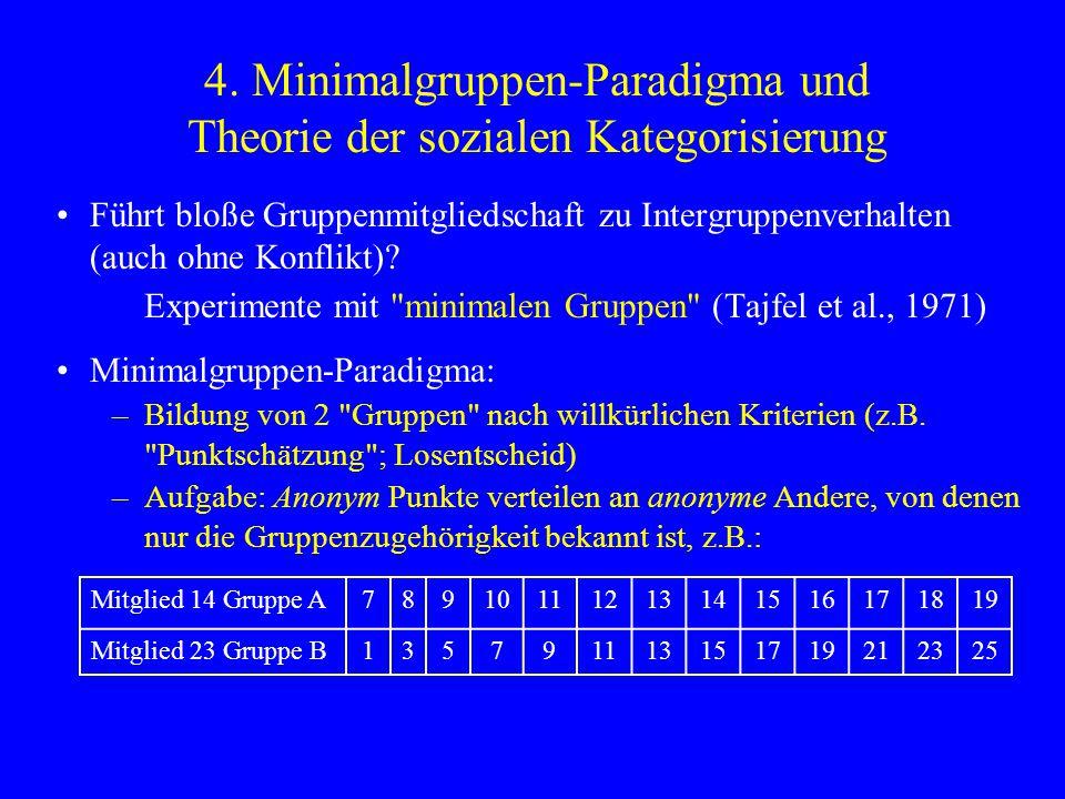 4. Minimalgruppen-Paradigma und Theorie der sozialen Kategorisierung Führt bloße Gruppenmitgliedschaft zu Intergruppenverhalten (auch ohne Konflikt)?