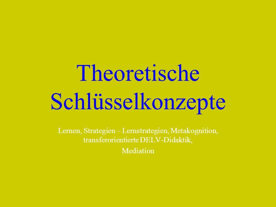 Theoretische Schlüsselkonzepte Lernen, Strategien – Lernstrategien, Metakognition, transferorientierte DELV-Didaktik, Mediation