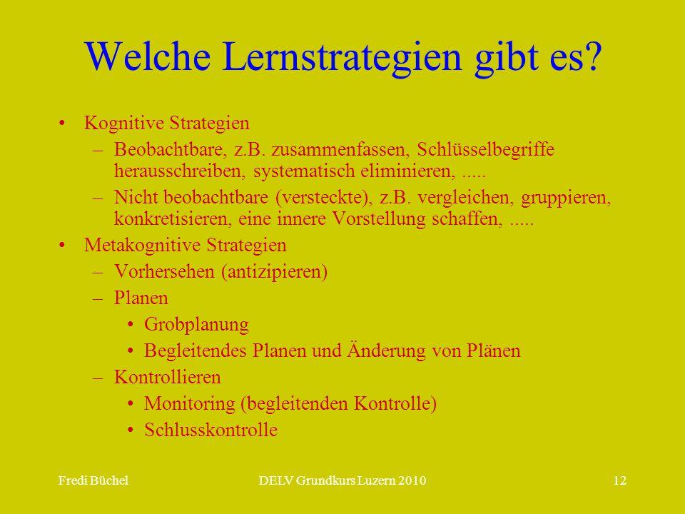 Fredi BüchelDELV Grundkurs Luzern 201012 Welche Lernstrategien gibt es? Kognitive Strategien –Beobachtbare, z.B. zusammenfassen, Schlüsselbegriffe her
