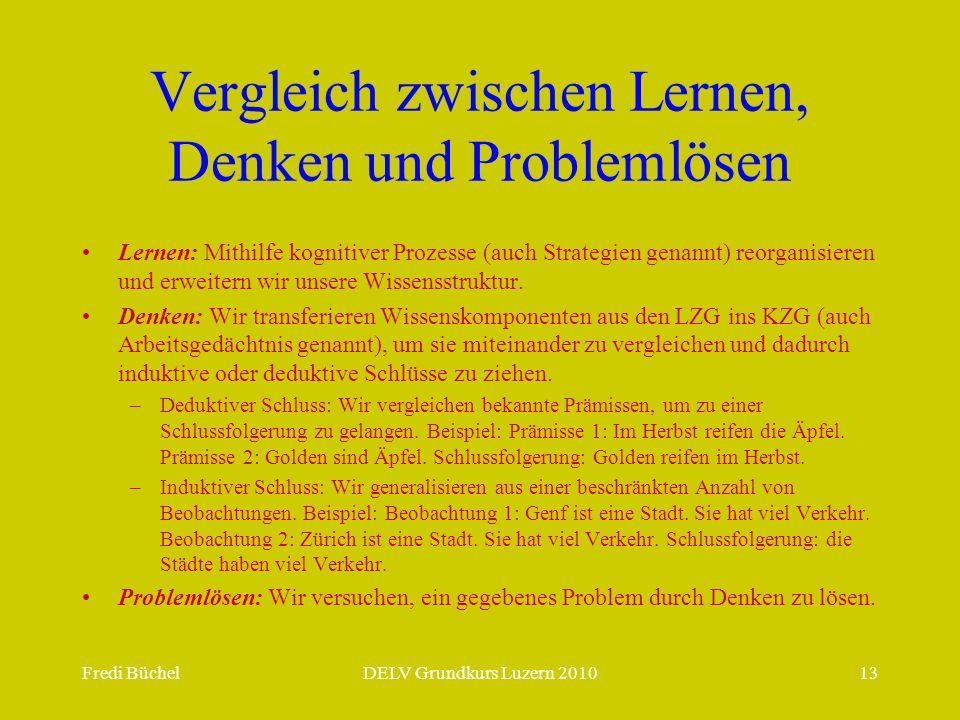Fredi BüchelDELV Grundkurs Luzern 201013 Vergleich zwischen Lernen, Denken und Problemlösen Lernen: Mithilfe kognitiver Prozesse (auch Strategien gena