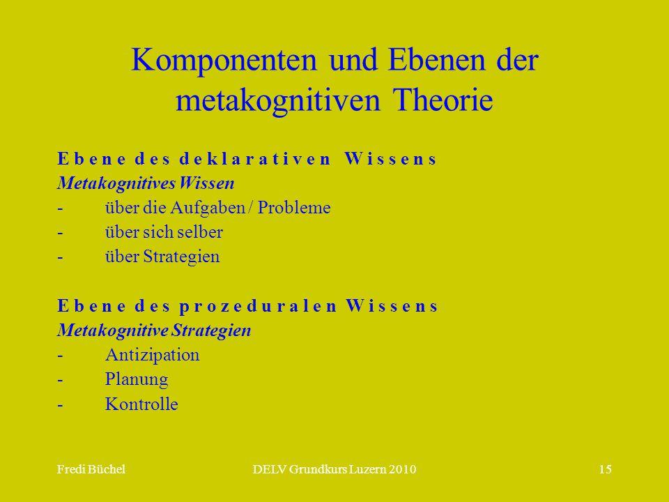 Fredi BüchelDELV Grundkurs Luzern 201015 Komponenten und Ebenen der metakognitiven Theorie E b e n e d e s d e k l a r a t i v e n W i s s e n s Metakognitives Wissen - über die Aufgaben / Probleme - über sich selber - über Strategien E b e n e d e s p r o z e d u r a l e n W i s s e n s Metakognitive Strategien - Antizipation - Planung - Kontrolle