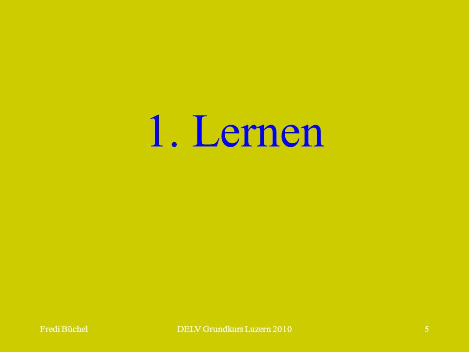 Fredi BüchelDELV Grundkurs Luzern 20105 1. Lernen
