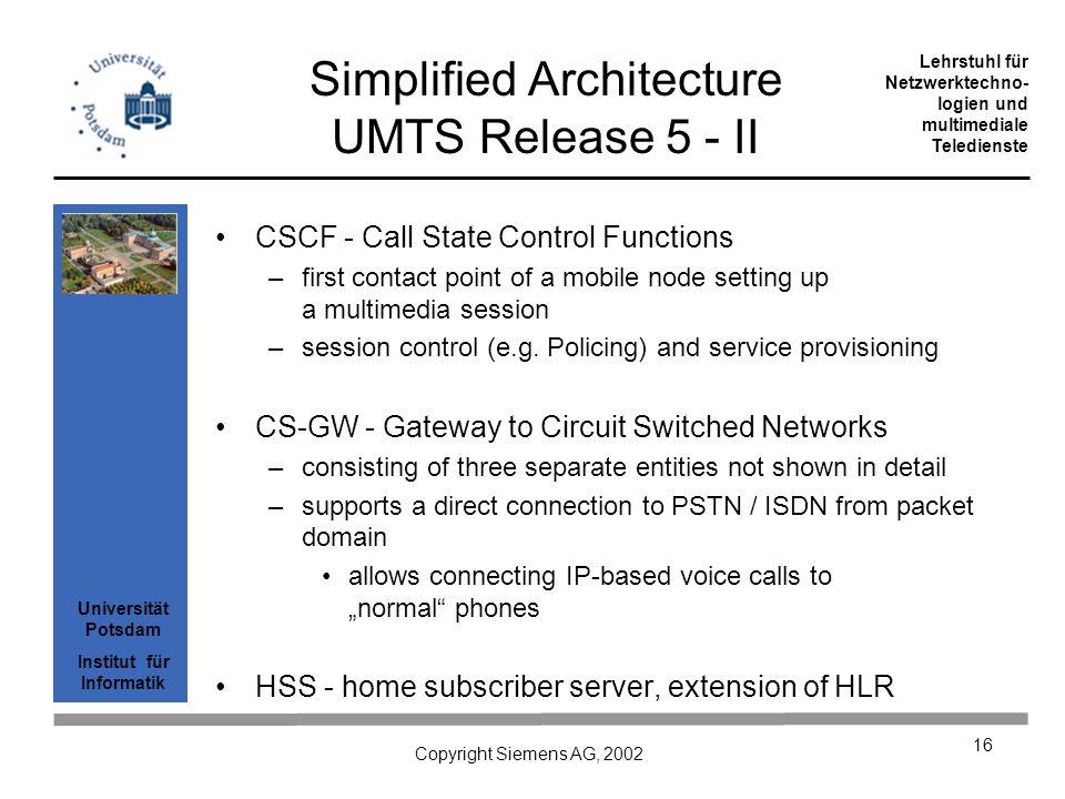 Universität Potsdam Institut für Informatik Lehrstuhl für Netzwerktechno- logien und multimediale Teledienste Copyright Siemens AG, 2002 16 Simplified