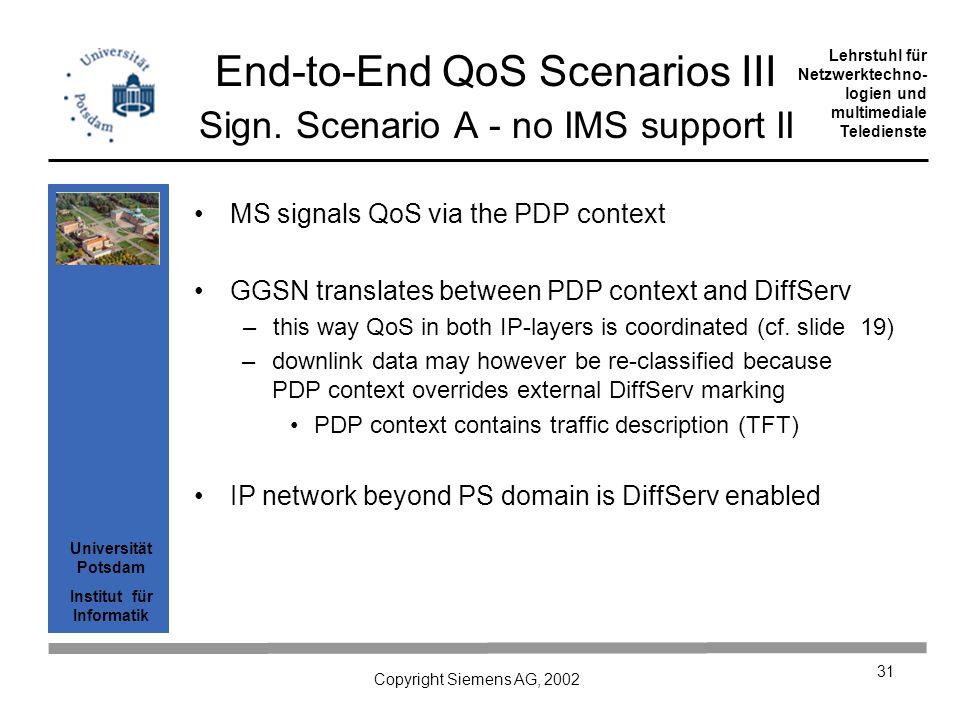 Universität Potsdam Institut für Informatik Lehrstuhl für Netzwerktechno- logien und multimediale Teledienste Copyright Siemens AG, 2002 31 End-to-End QoS Scenarios III Sign.