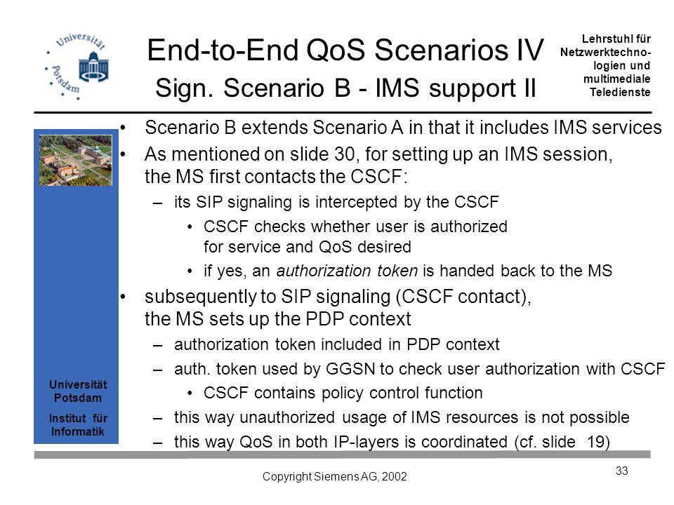 Universität Potsdam Institut für Informatik Lehrstuhl für Netzwerktechno- logien und multimediale Teledienste Copyright Siemens AG, 2002 33 End-to-End QoS Scenarios IV Sign.