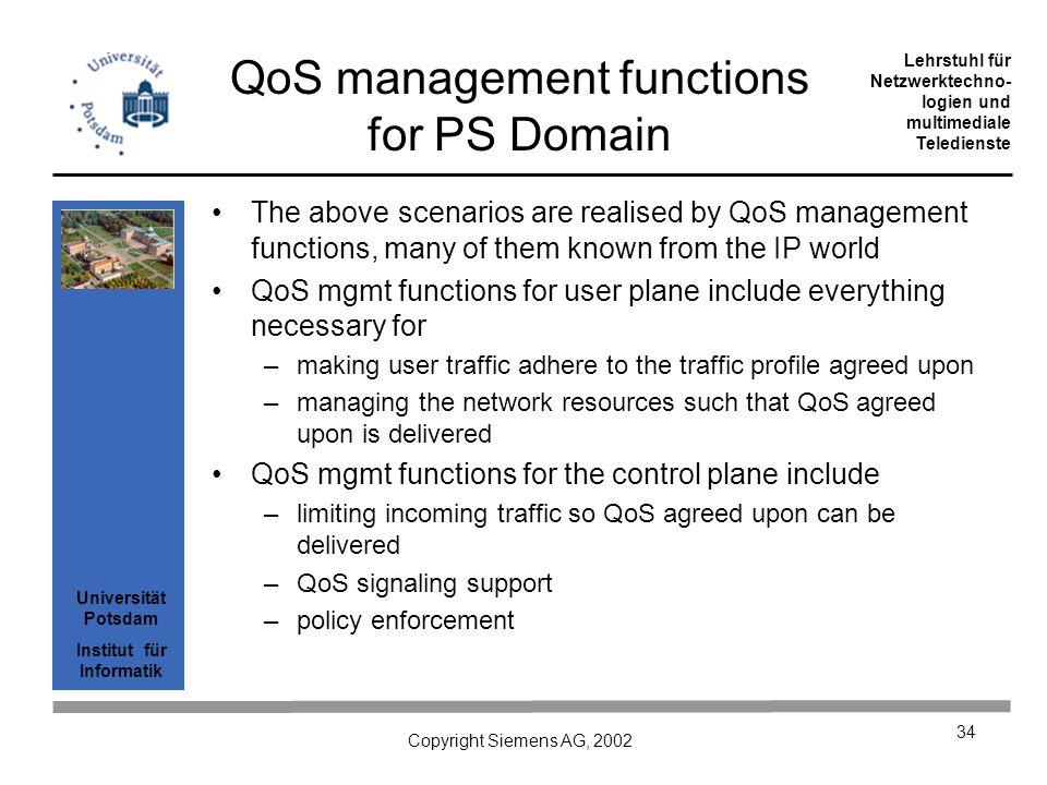 Universität Potsdam Institut für Informatik Lehrstuhl für Netzwerktechno- logien und multimediale Teledienste Copyright Siemens AG, 2002 34 QoS manage