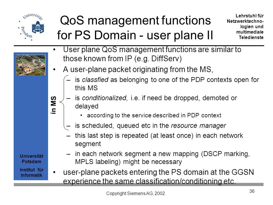 Universität Potsdam Institut für Informatik Lehrstuhl für Netzwerktechno- logien und multimediale Teledienste Copyright Siemens AG, 2002 36 User plane QoS management functions are similar to those known from IP (e.g.