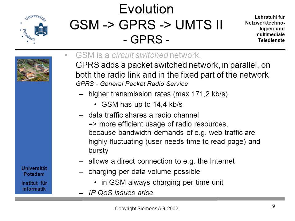 Universität Potsdam Institut für Informatik Lehrstuhl für Netzwerktechno- logien und multimediale Teledienste Copyright Siemens AG, 2002 9 GSM is a ci