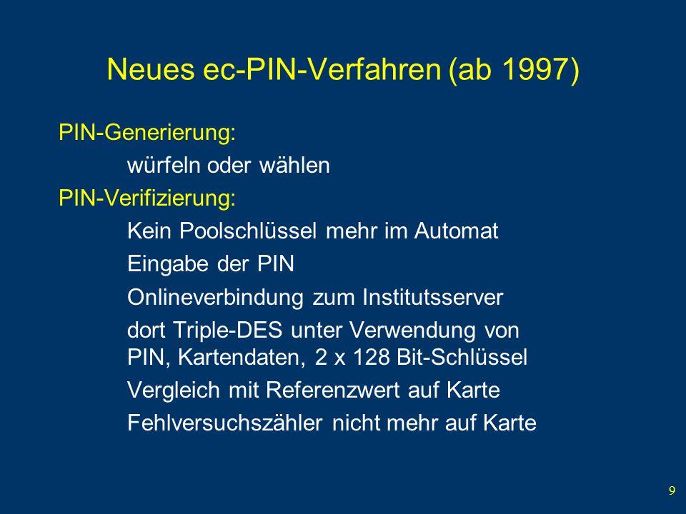 9 Neues ec-PIN-Verfahren (ab 1997) PIN-Generierung: würfeln oder wählen PIN-Verifizierung: Kein Poolschlüssel mehr im Automat Eingabe der PIN Onlineve