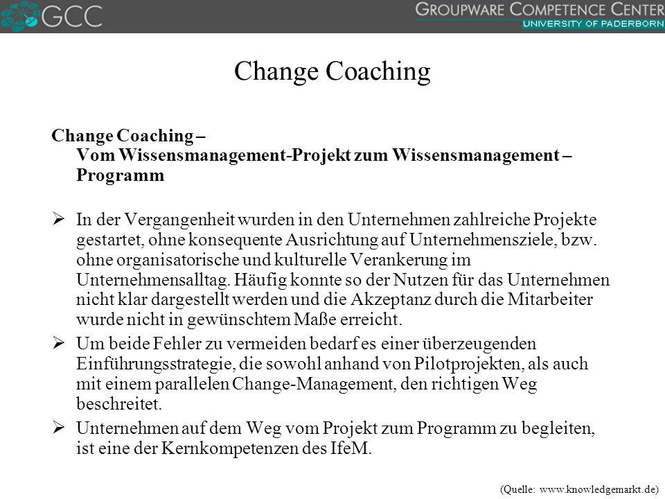 Change Coaching Change Coaching – Vom Wissensmanagement-Projekt zum Wissensmanagement – Programm  In der Vergangenheit wurden in den Unternehmen zahlreiche Projekte gestartet, ohne konsequente Ausrichtung auf Unternehmensziele, bzw.