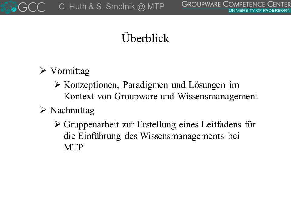 Fragen, Anmerkungen & Diskussion Stefan.Smolnik@notes.upb.de Carsten.Huth@notes.upb.de gcc.uni-paderborn.de