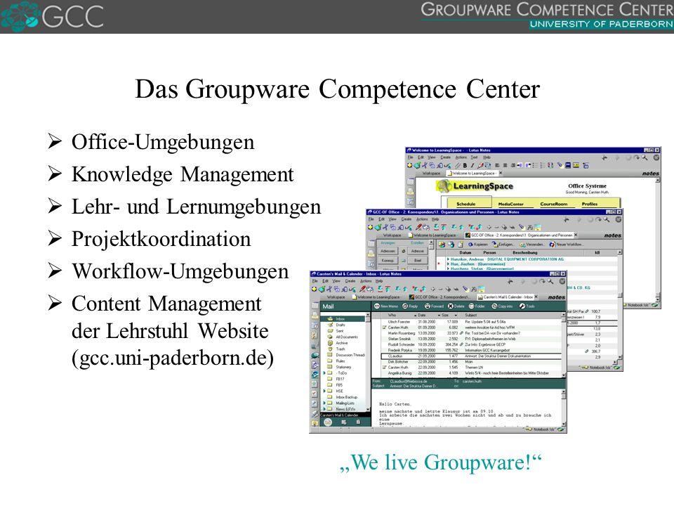 """""""We live Groupware! Das Groupware Competence Center  Office-Umgebungen  Knowledge Management  Lehr- und Lernumgebungen  Projektkoordination  Workflow-Umgebungen  Content Management der Lehrstuhl Website (gcc.uni-paderborn.de)"""