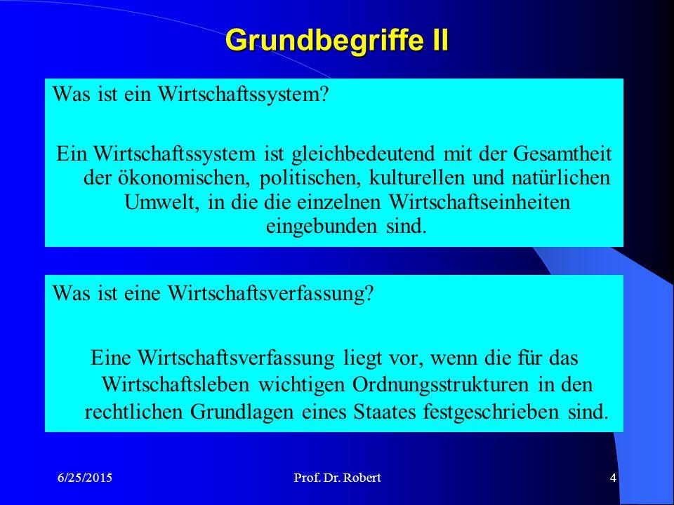 6/25/2015Prof.Dr. Robert4 Grundbegriffe II Was ist eine Wirtschaftsverfassung.