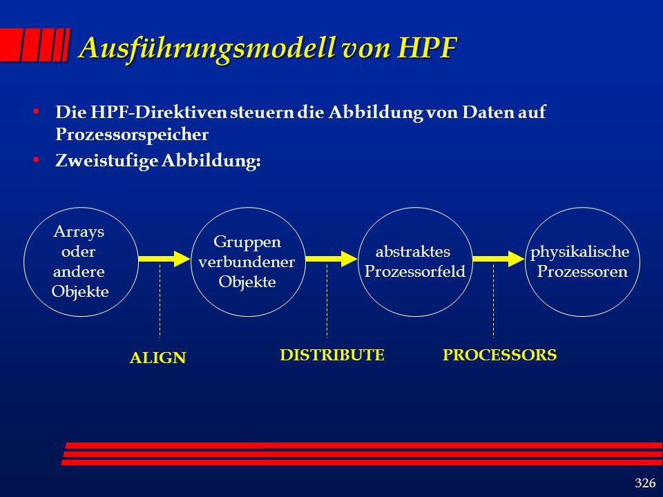326 Ausführungsmodell von HPF Die HPF-Direktiven steuern die Abbildung von Daten auf Prozessorspeicher Zweistufige Abbildung: Arrays oder andere Objekte Gruppen verbundener Objekte abstraktes Prozessorfeld physikalische Prozessoren ALIGN DISTRIBUTEPROCESSORS