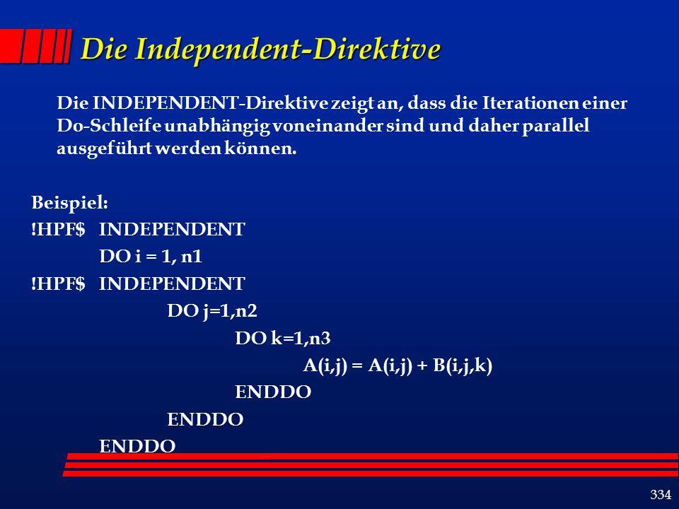 334 Die Independent-Direktive Die INDEPENDENT-Direktive zeigt an, dass die Iterationen einer Do-Schleife unabhängig voneinander sind und daher parallel ausgeführt werden können.