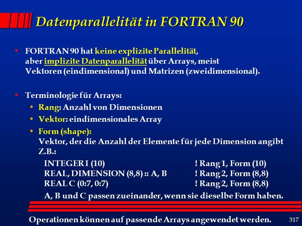 318 Datenparallele Arrayoperationen binäre Operationen B+C, B*C, B-C unäre Operationen A = sqrt(B) Array-Skalar-Operationen B+c B*c Reduktionsoperationen SUM(A) MAXVAL(A) MAXLOC(A) Restrukturierungsoperationen TRANSPOSE(A) CSHIFT(A) (circular shift) 1112131514 2122232524 3132333534 4142434544 11121315142122232524313233353441424345441112131514 2122232524 3132333534 4142434544 1112131514 2122232524 3132333534 4142434544 cshift(A,-1)cshift(A,-3,2)