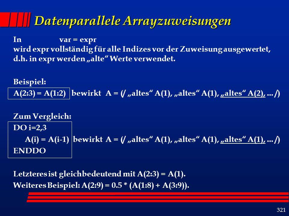 321 Datenparallele Arrayzuweisungen In var = expr wird expr vollständig für alle Indizes vor der Zuweisung ausgewertet, d.h.