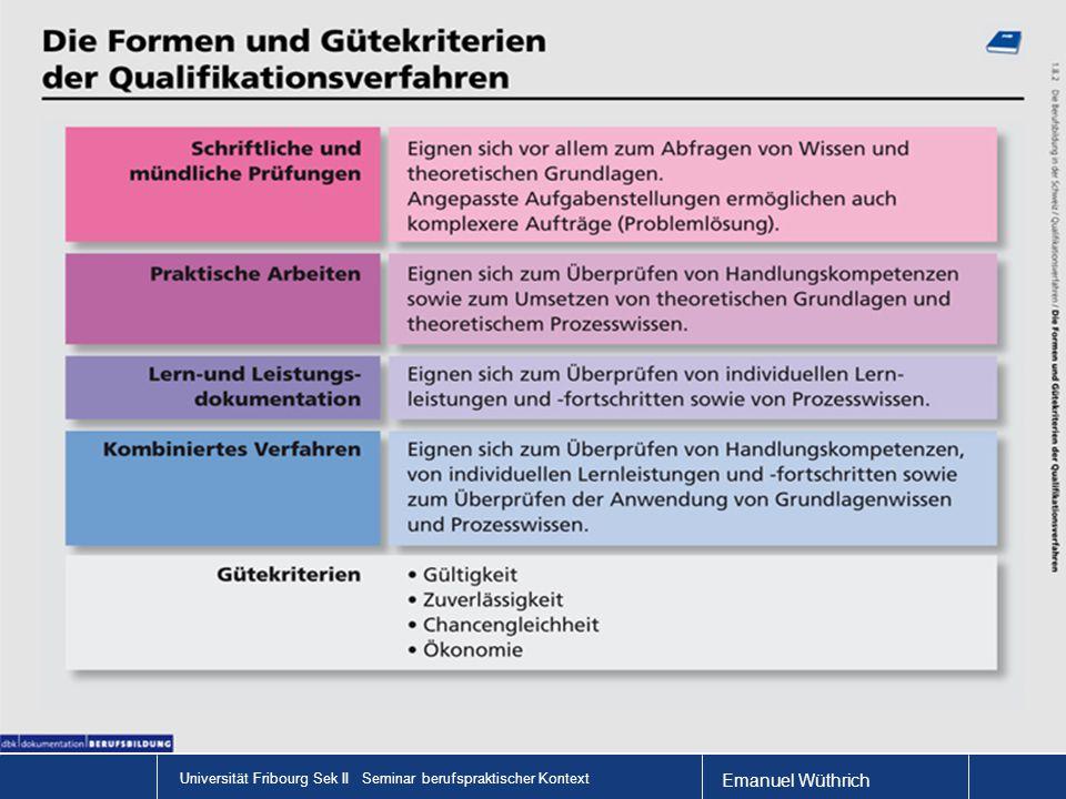 Emanuel Wüthrich Universität Fribourg Sek II Seminar berufspraktischer Kontext Die LAP – ein Beispiel der Maurer Film: Eine VPA: Vorgegebene Praktische Arbeit Vorteile: Chancengleichheit, Ökonomie Eine IPA: Individuelle Praktische Arbeit Vorteile: Reliabilität, Validität http://www.youtube.com/watch?v=VOKhSo7LYFAhttp://www.youtube.c om/Filmwatch?v=VOKhSo7LYFA http://www.youtube.com/watch?v=VOKhSo7LYFAhttp://www.youtube.c om/Filmwatch?v=VOKhSo7LYFA