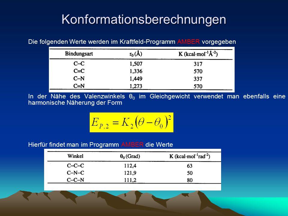 Konformationsberechnungen Die folgenden Werte werden im Kraftfeld-Programm AMBER vorgegeben In der Nähe des Valenzwinkels θ 0 im Gleichgewicht verwend
