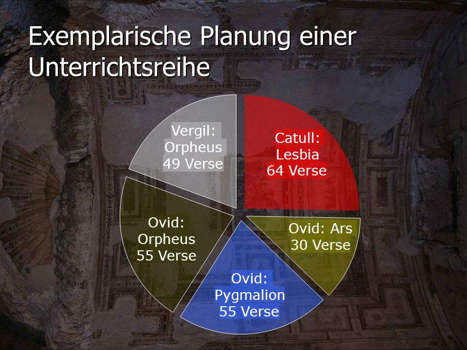 Exemplarische Planung einer Unterrichtsreihe Ovid: Ars 30 Verse Ovid: Pygmalion 55 Verse Catull: Lesbia 64 Verse Vergil: Orpheus 49 Verse Ovid: Orpheus 55 Verse