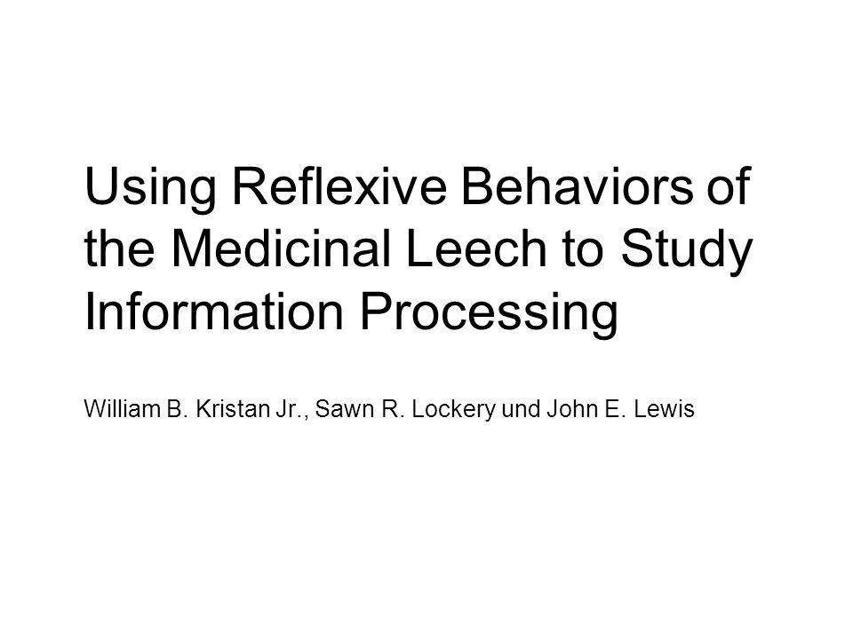 Using Reflexive Behaviors of the Medicinal Leech to Study Information Processing William B. Kristan Jr., Sawn R. Lockery und John E. Lewis