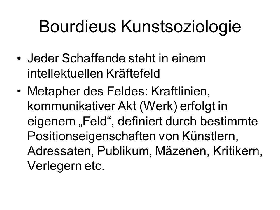 Bourdieus Kunstsoziologie Jeder Schaffende steht in einem intellektuellen Kräftefeld Metapher des Feldes: Kraftlinien, kommunikativer Akt (Werk) erfol