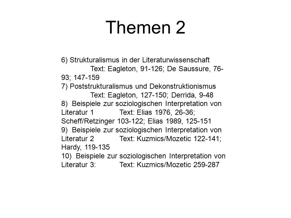 Themen 2 6) Strukturalismus in der Literaturwissenschaft Text: Eagleton, 91-126; De Saussure, 76- 93; 147-159 7) Poststrukturalismus und Dekonstruktio