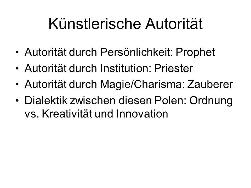 Künstlerische Autorität Autorität durch Persönlichkeit: Prophet Autorität durch Institution: Priester Autorität durch Magie/Charisma: Zauberer Dialekt