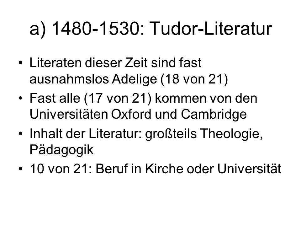 a) 1480-1530: Tudor-Literatur Literaten dieser Zeit sind fast ausnahmslos Adelige (18 von 21) Fast alle (17 von 21) kommen von den Universitäten Oxfor