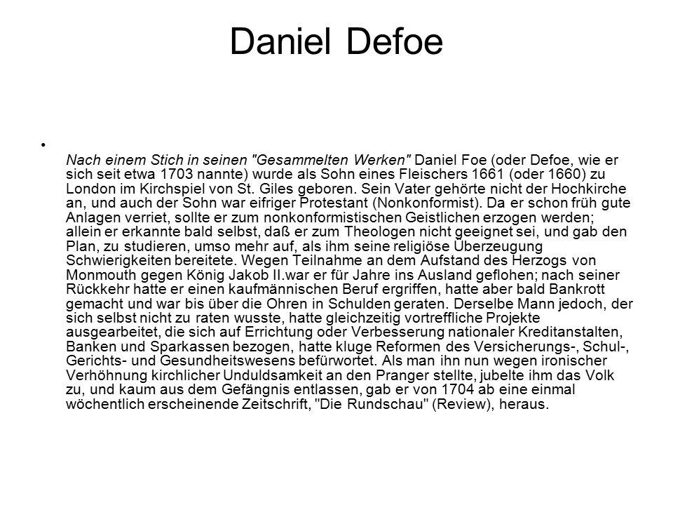 Daniel Defoe Nach einem Stich in seinen