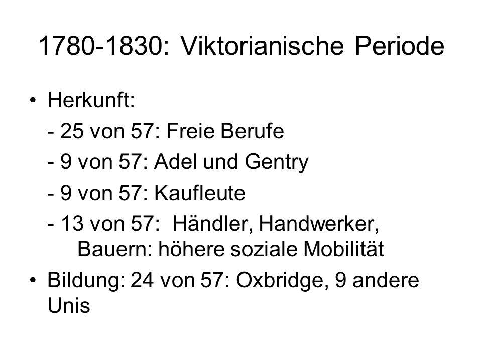 1780-1830: Viktorianische Periode Herkunft: - 25 von 57: Freie Berufe - 9 von 57: Adel und Gentry - 9 von 57: Kaufleute - 13 von 57: Händler, Handwerk