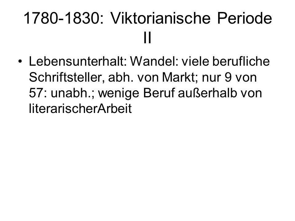 1780-1830: Viktorianische Periode II Lebensunterhalt: Wandel: viele berufliche Schriftsteller, abh. von Markt; nur 9 von 57: unabh.; wenige Beruf auße