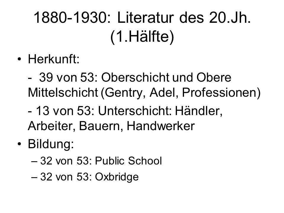 1880-1930: Literatur des 20.Jh. (1.Hälfte) Herkunft: - 39 von 53: Oberschicht und Obere Mittelschicht (Gentry, Adel, Professionen) - 13 von 53: Unters