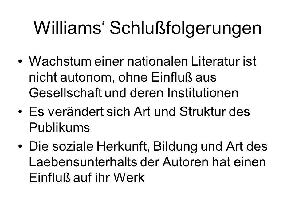 Williams' Schlußfolgerungen Wachstum einer nationalen Literatur ist nicht autonom, ohne Einfluß aus Gesellschaft und deren Institutionen Es verändert