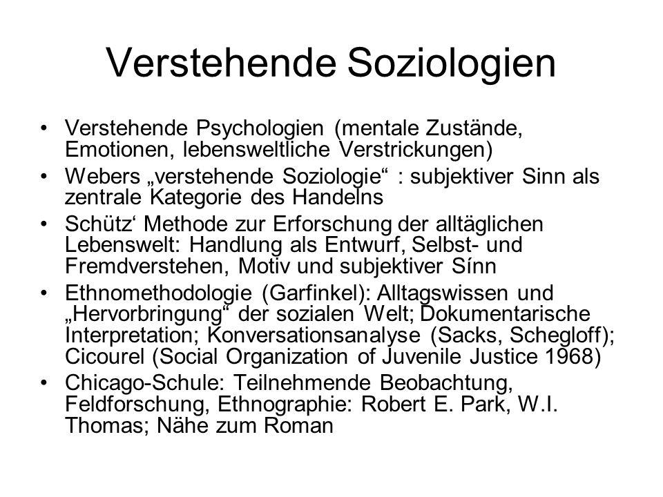 """Verstehende Soziologien Verstehende Psychologien (mentale Zustände, Emotionen, lebensweltliche Verstrickungen) Webers """"verstehende Soziologie"""" : subje"""