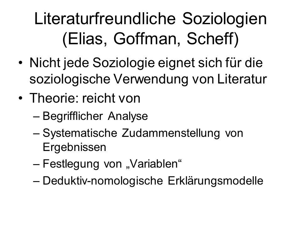 Literaturfreundliche Soziologien (Elias, Goffman, Scheff) Nicht jede Soziologie eignet sich für die soziologische Verwendung von Literatur Theorie: re