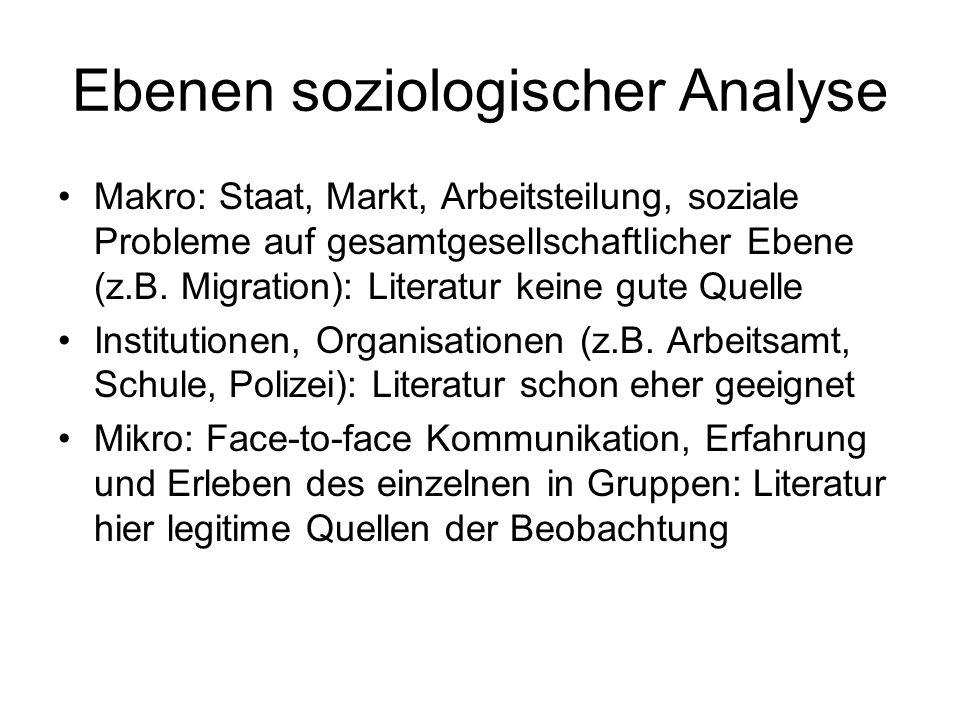 Ebenen soziologischer Analyse Makro: Staat, Markt, Arbeitsteilung, soziale Probleme auf gesamtgesellschaftlicher Ebene (z.B. Migration): Literatur kei