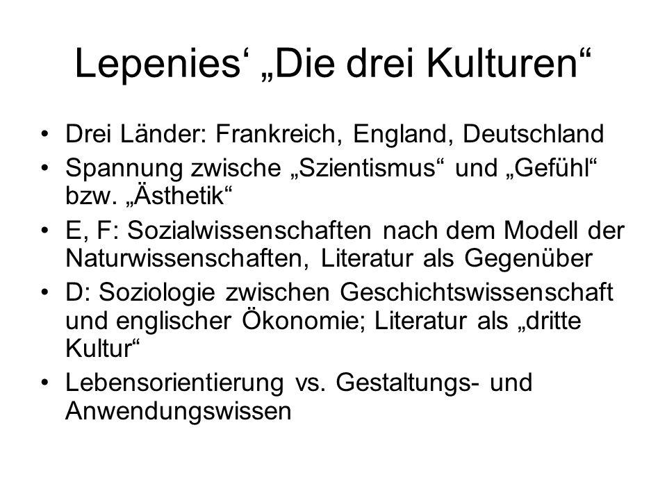 """Lepenies' """"Die drei Kulturen"""" Drei Länder: Frankreich, England, Deutschland Spannung zwische """"Szientismus"""" und """"Gefühl"""" bzw. """"Ästhetik"""" E, F: Sozialwi"""