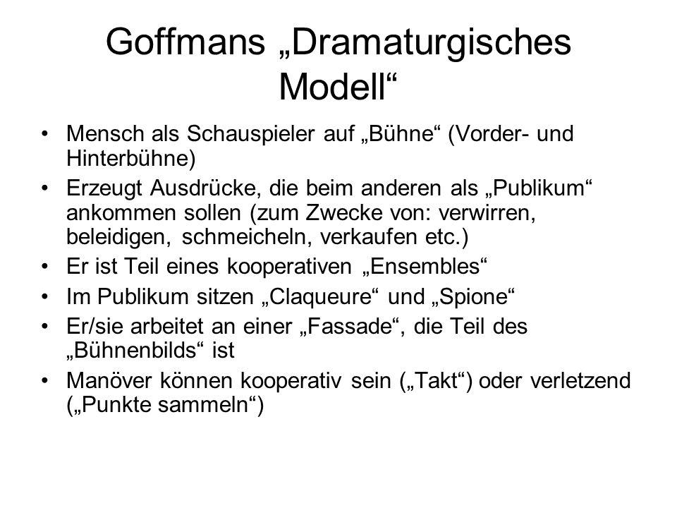 """Goffmans """"Dramaturgisches Modell"""" Mensch als Schauspieler auf """"Bühne"""" (Vorder- und Hinterbühne) Erzeugt Ausdrücke, die beim anderen als """"Publikum"""" ank"""