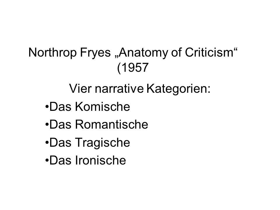 """Northrop Fryes """"Anatomy of Criticism"""" (1957 Vier narrative Kategorien: Das Komische Das Romantische Das Tragische Das Ironische"""