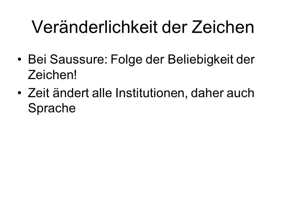Veränderlichkeit der Zeichen Bei Saussure: Folge der Beliebigkeit der Zeichen! Zeit ändert alle Institutionen, daher auch Sprache
