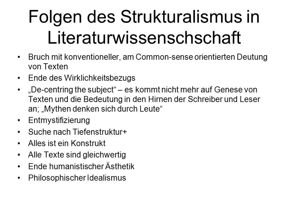 Folgen des Strukturalismus in Literaturwissenschschaft Bruch mit konventioneller, am Common-sense orientierten Deutung von Texten Ende des Wirklichkei