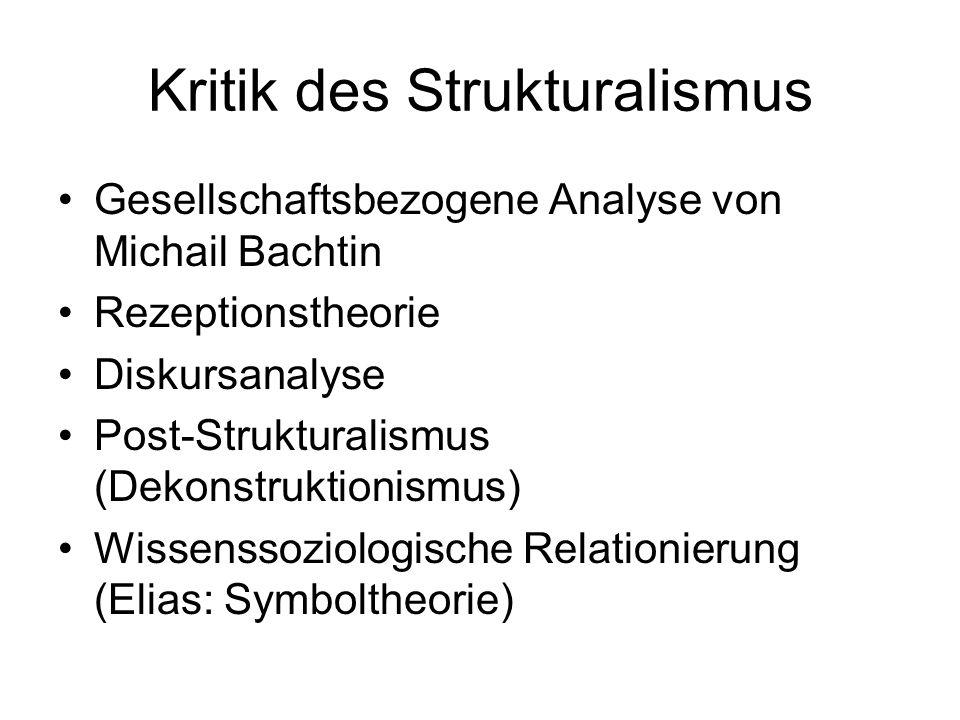 Kritik des Strukturalismus Gesellschaftsbezogene Analyse von Michail Bachtin Rezeptionstheorie Diskursanalyse Post-Strukturalismus (Dekonstruktionismu
