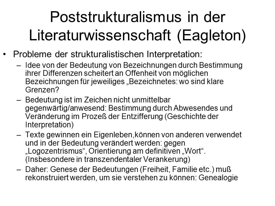 Poststrukturalismus in der Literaturwissenschaft (Eagleton) Probleme der strukturalistischen Interpretation: –Idee von der Bedeutung von Bezeichnungen