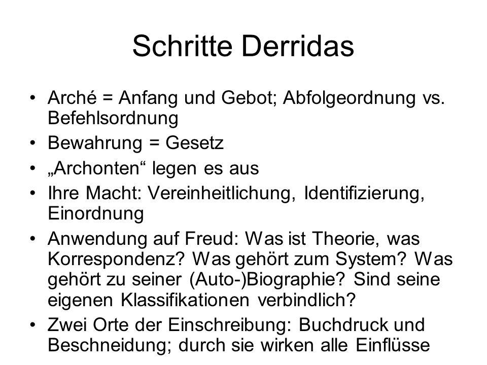 """Schritte Derridas Arché = Anfang und Gebot; Abfolgeordnung vs. Befehlsordnung Bewahrung = Gesetz """"Archonten"""" legen es aus Ihre Macht: Vereinheitlichun"""
