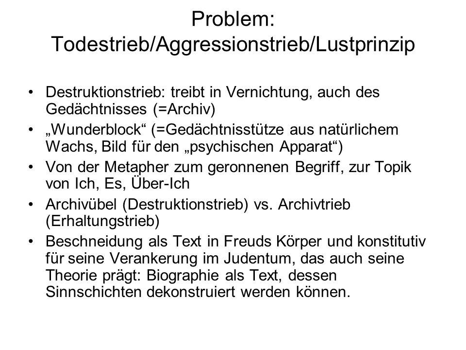 """Problem: Todestrieb/Aggressionstrieb/Lustprinzip Destruktionstrieb: treibt in Vernichtung, auch des Gedächtnisses (=Archiv) """"Wunderblock"""" (=Gedächtnis"""